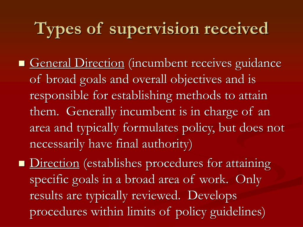 Types of supervision received