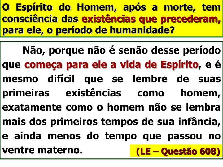 O Espírito do Homem, após a morte, tem consciência das