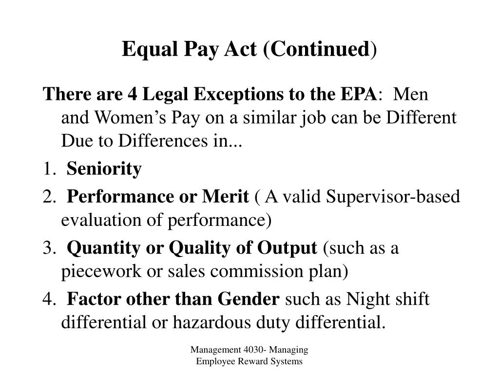 Equal Pay Act (Continued