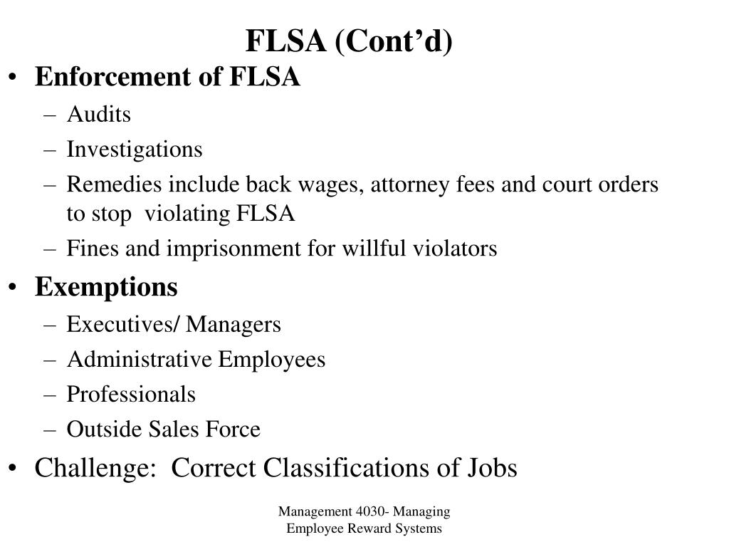 FLSA (Cont'd)