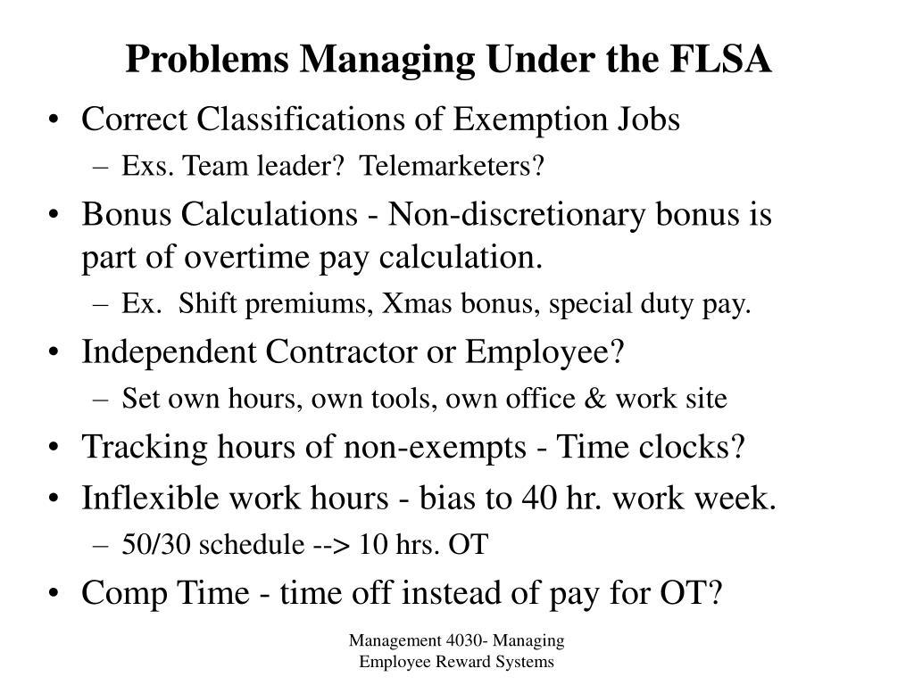 Problems Managing Under the FLSA