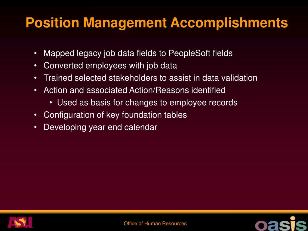 Position Management Accomplishments