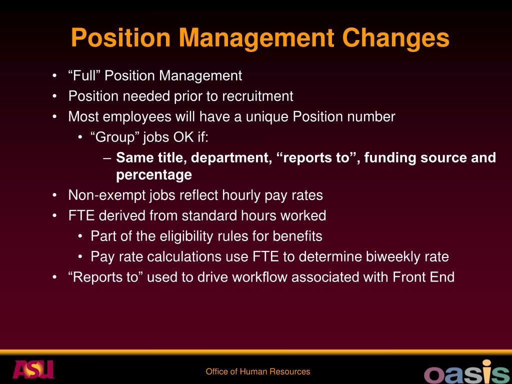 Position Management Changes