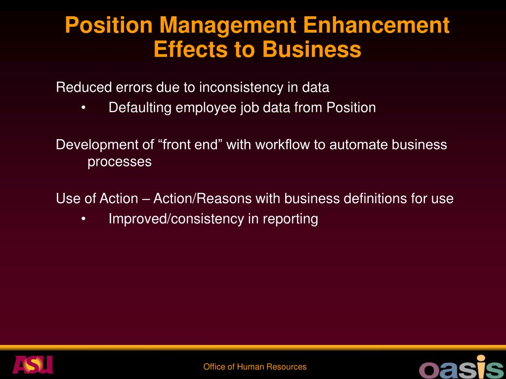 Position Management Enhancement Effects to Business