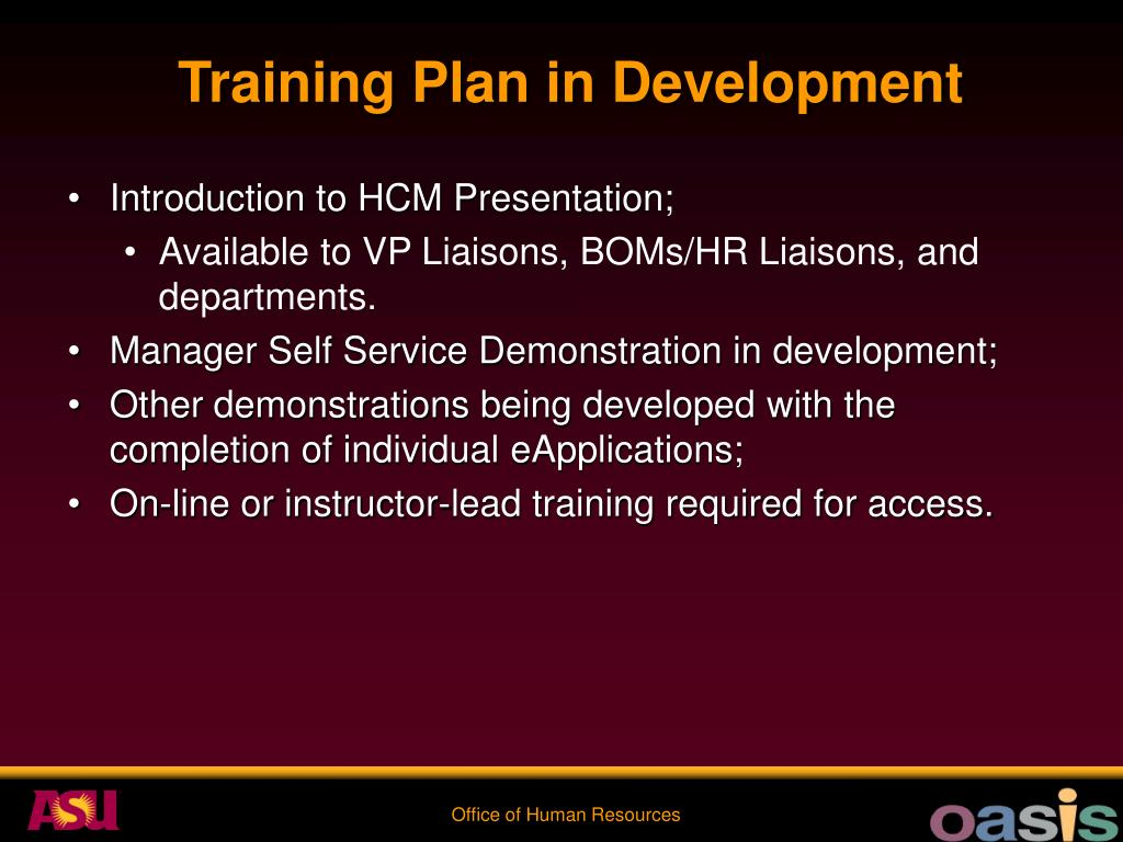Training Plan in Development
