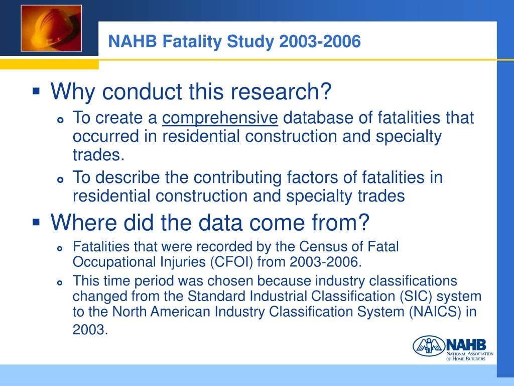 NAHB Fatality Study 2003-2006