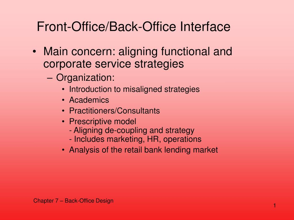 Front-Office/Back-Office Interface