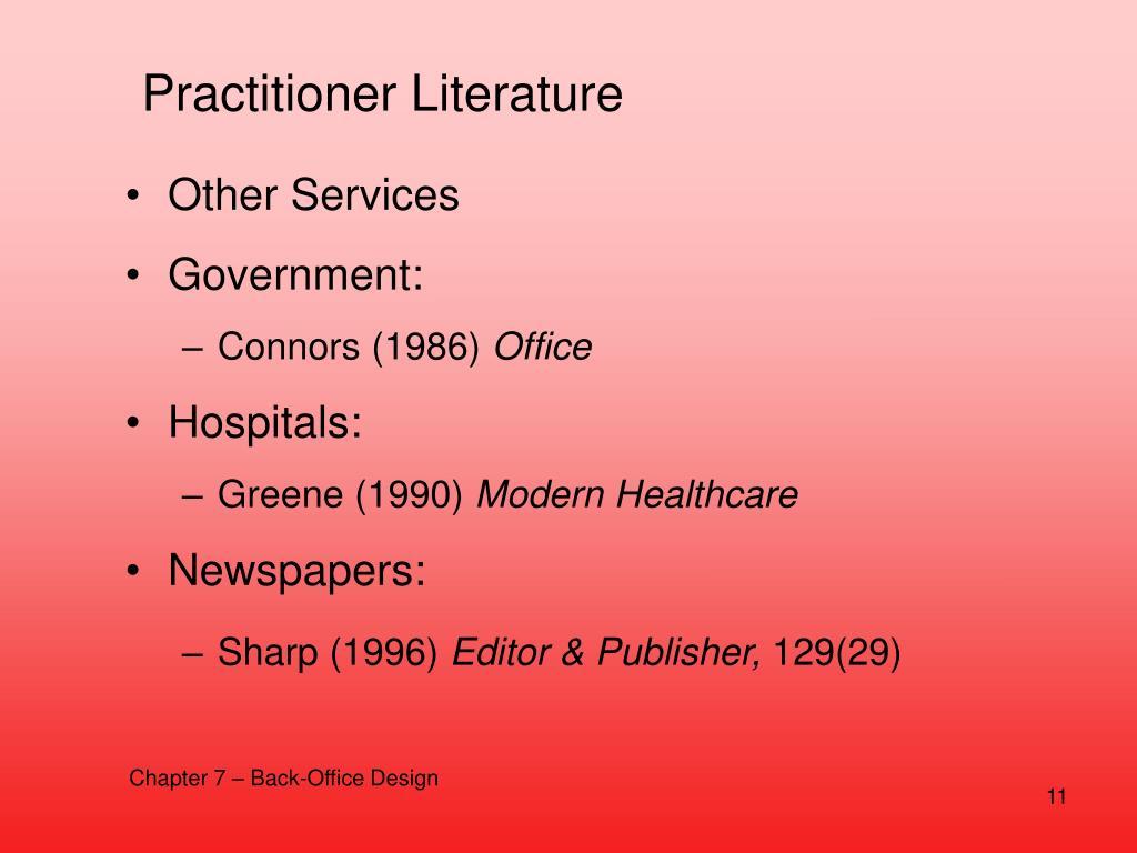 Practitioner Literature