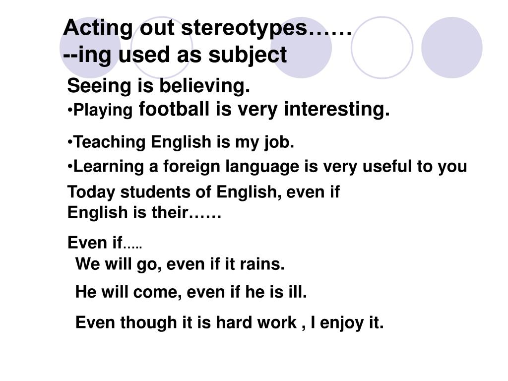 Acting out stereotypes……