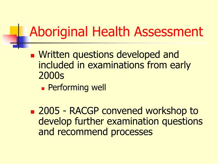 Aboriginal Health Assessment