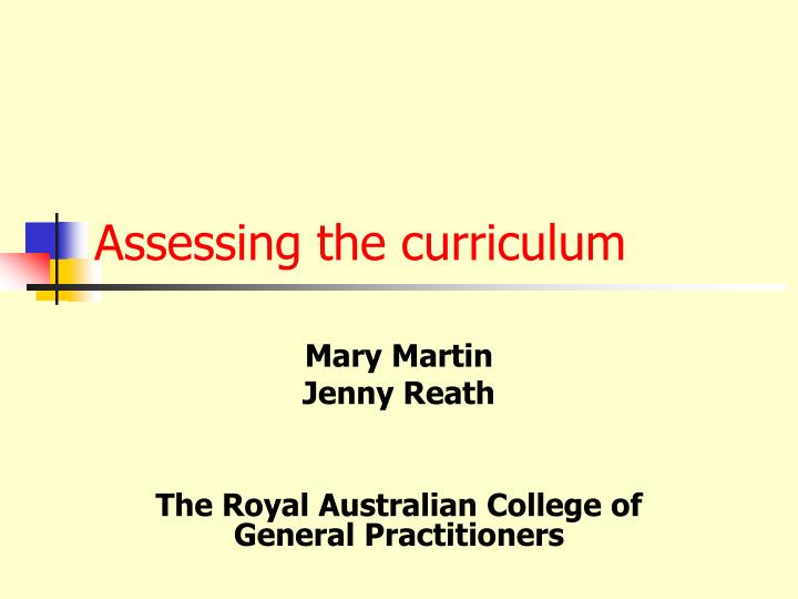 Assessing the curriculum