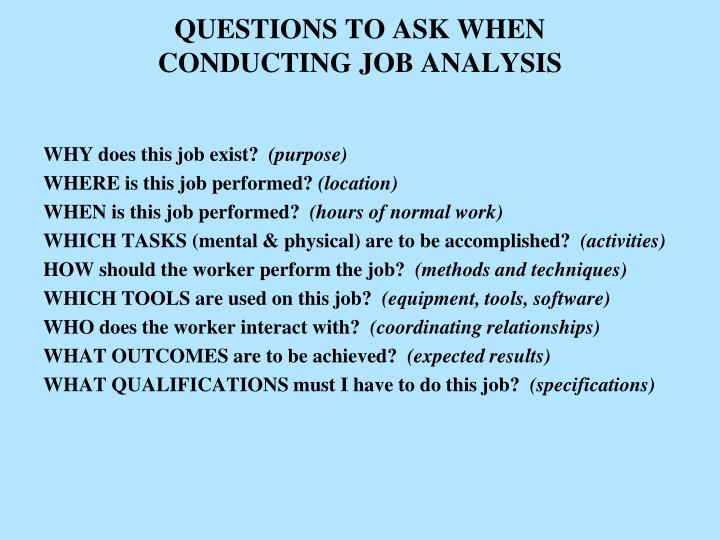 Questions to ask when conducting job analysis