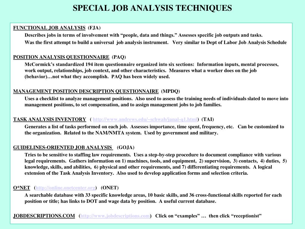 SPECIAL JOB ANALYSIS TECHNIQUES