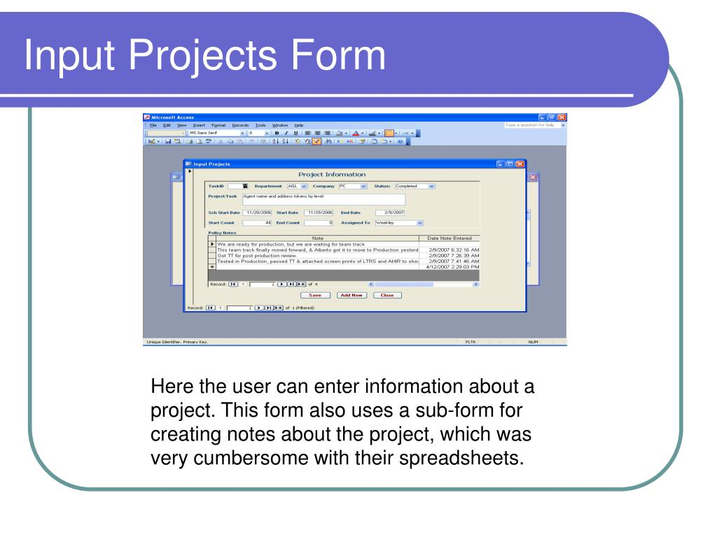 Input Projects Form