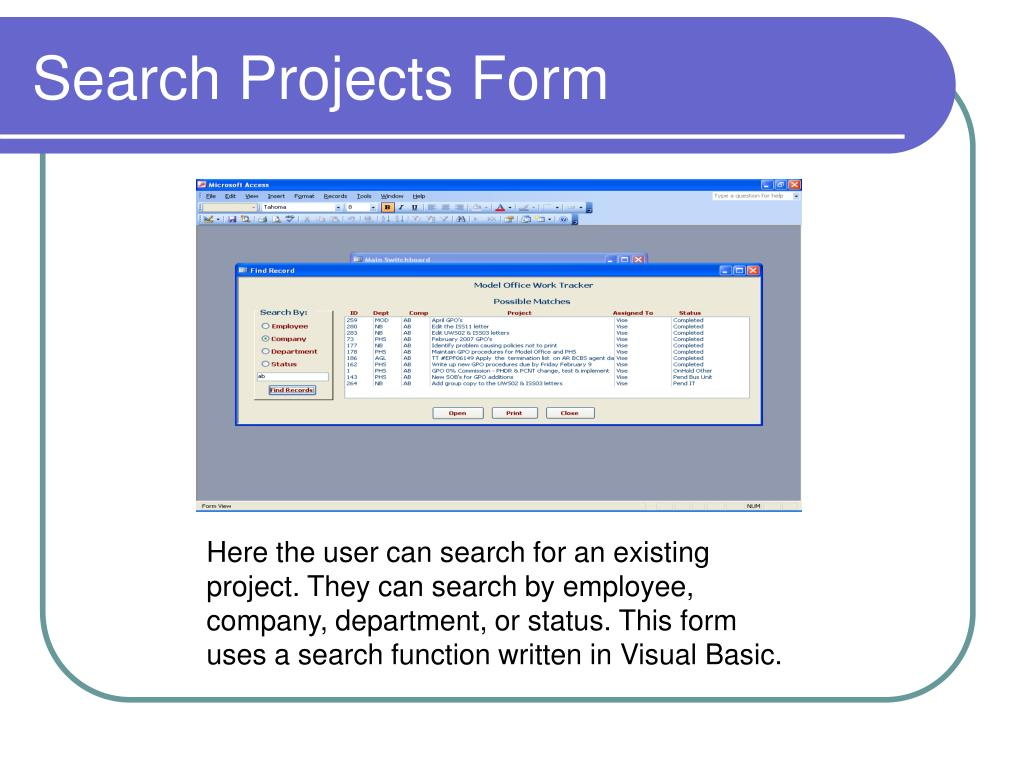 Search Projects Form