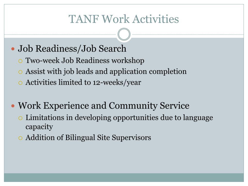 TANF Work Activities