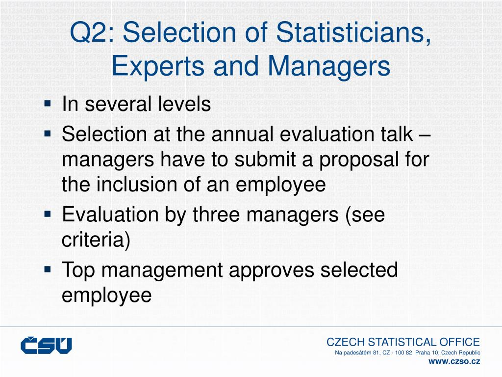 Q2: Selection of Statisticians,