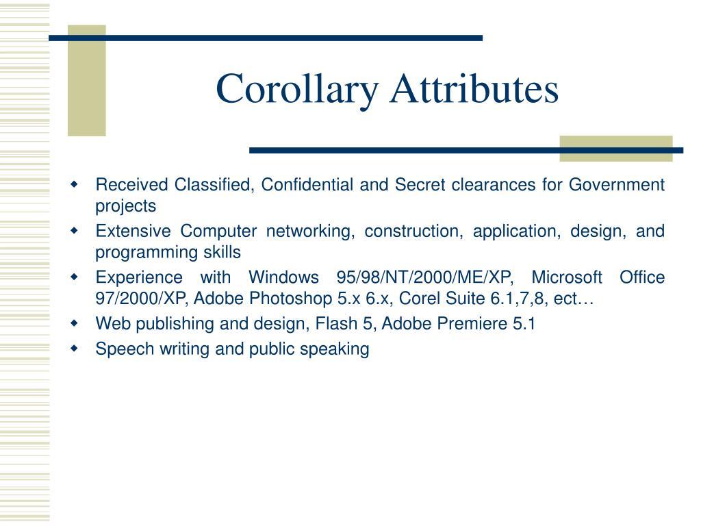 Corollary Attributes