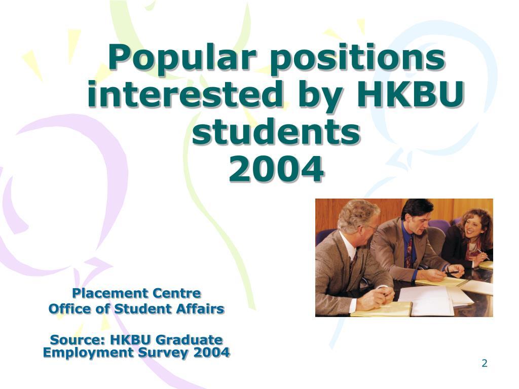 Popular positions interested by HKBU students