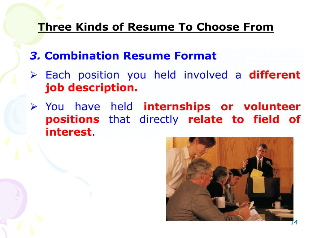 Three Kinds of Resume To Choose From