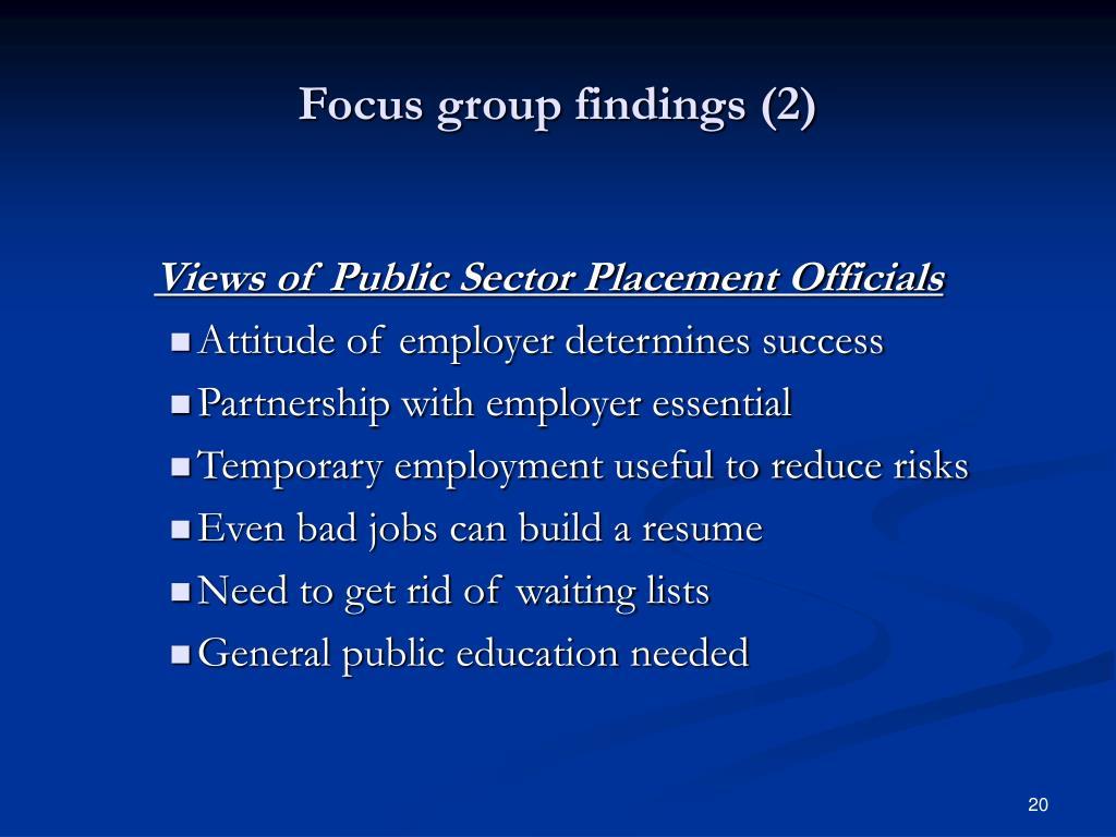 Focus group findings (2)