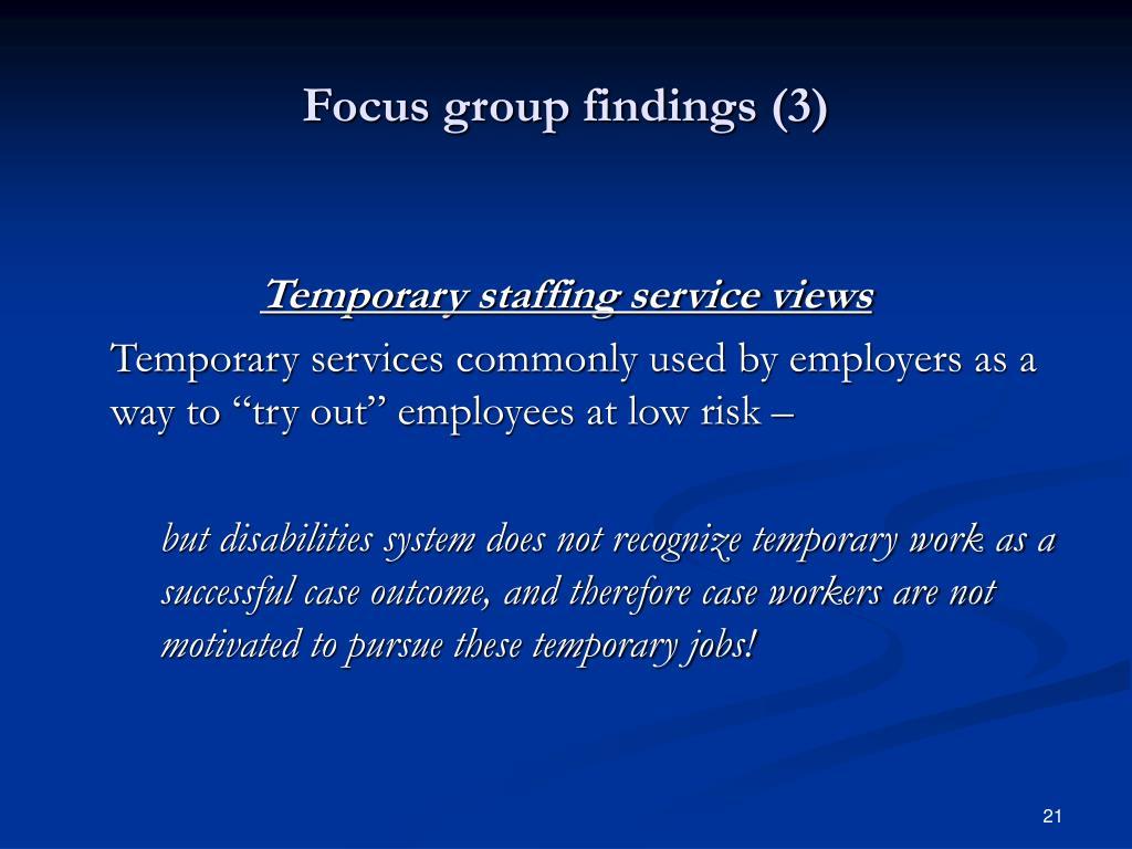 Focus group findings (3)