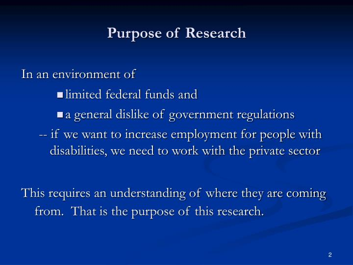 Purpose of research