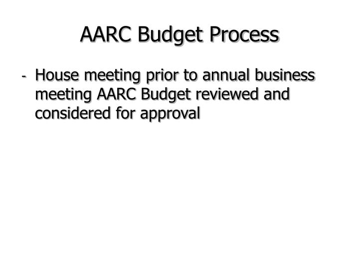 AARC Budget Process