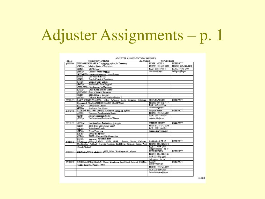 Adjuster Assignments – p. 1