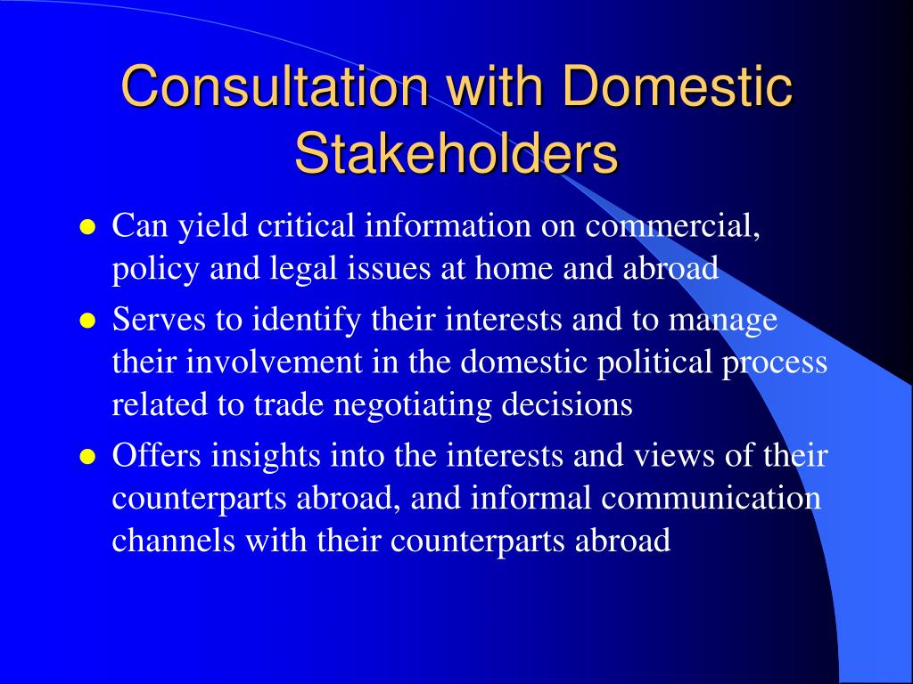 Consultation with Domestic Stakeholders