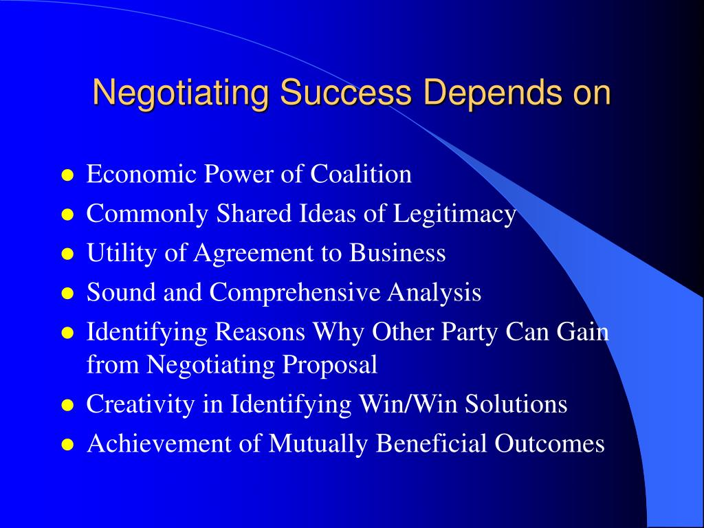 Negotiating Success Depends on