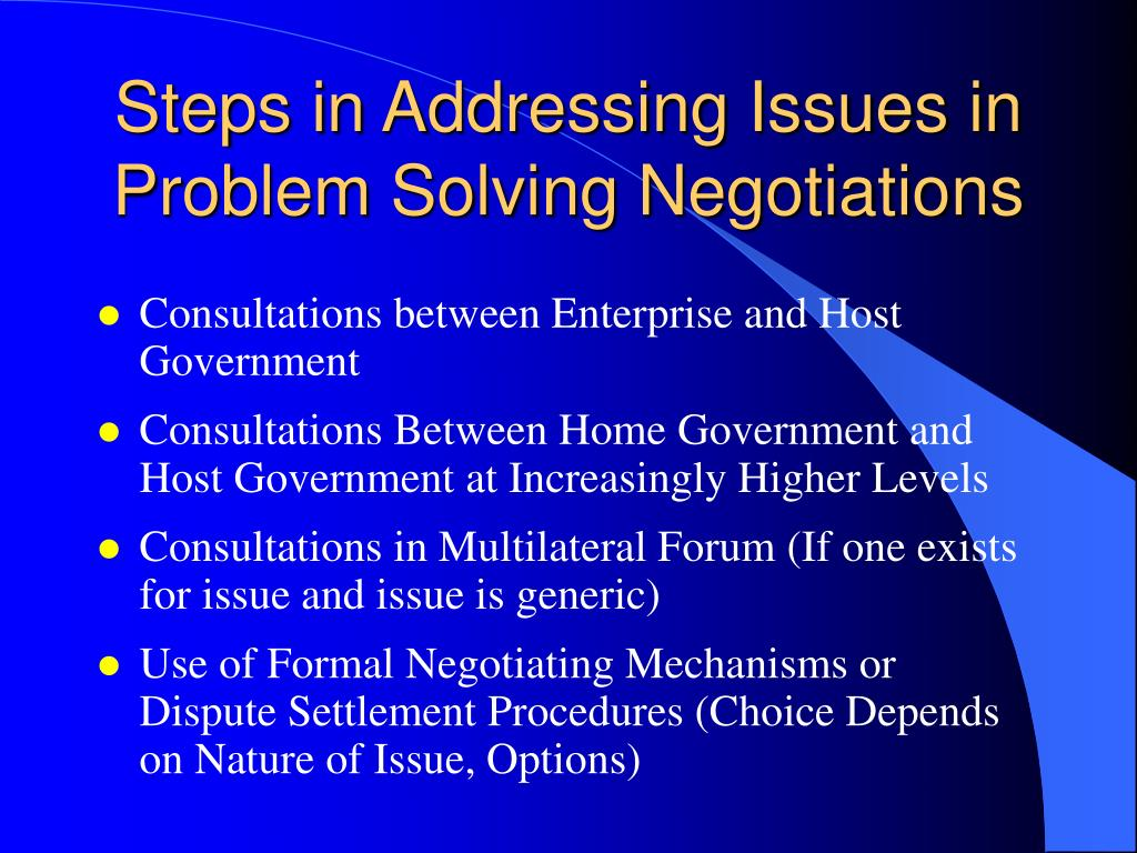 Steps in Addressing Issues in Problem Solving Negotiations