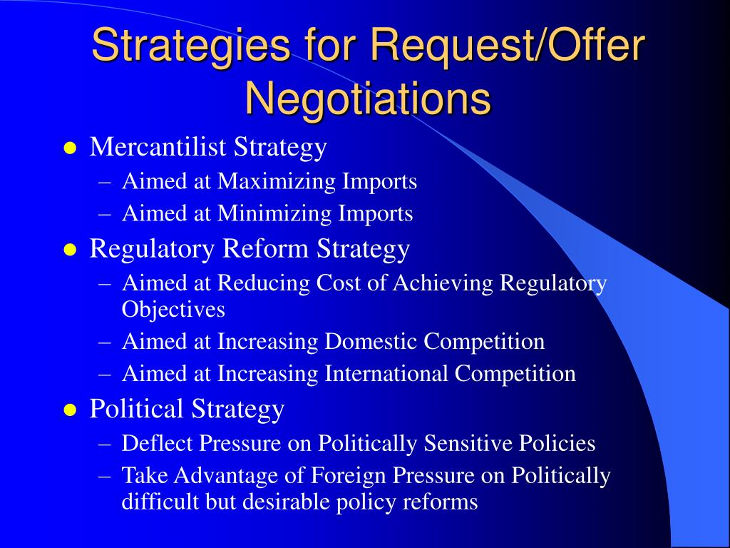 Strategies for Request/Offer Negotiations