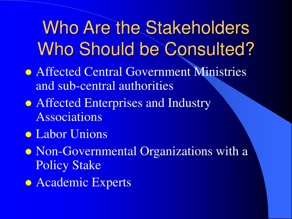 Who Are the Stakeholders Who Should be Consulted?