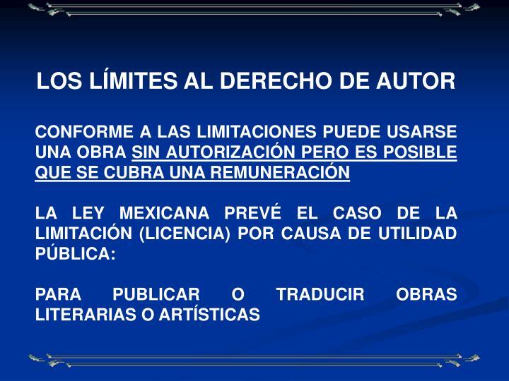 LOS LÍMITES AL DERECHO DE AUTOR