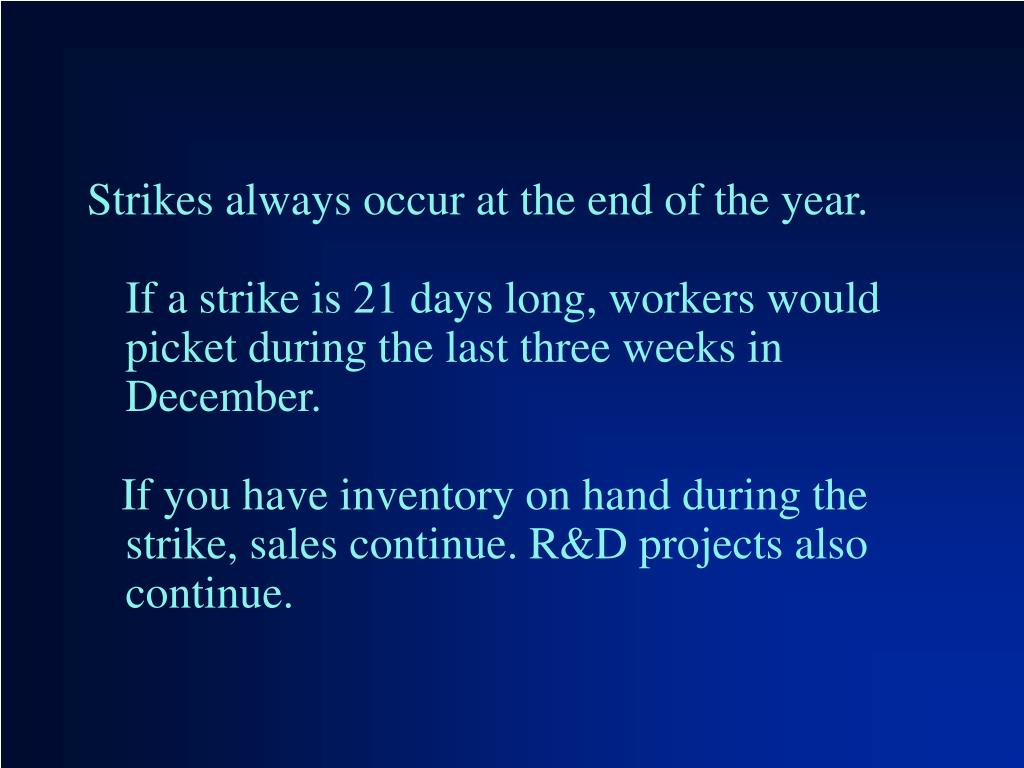 Strikes always occur at the end of the year.
