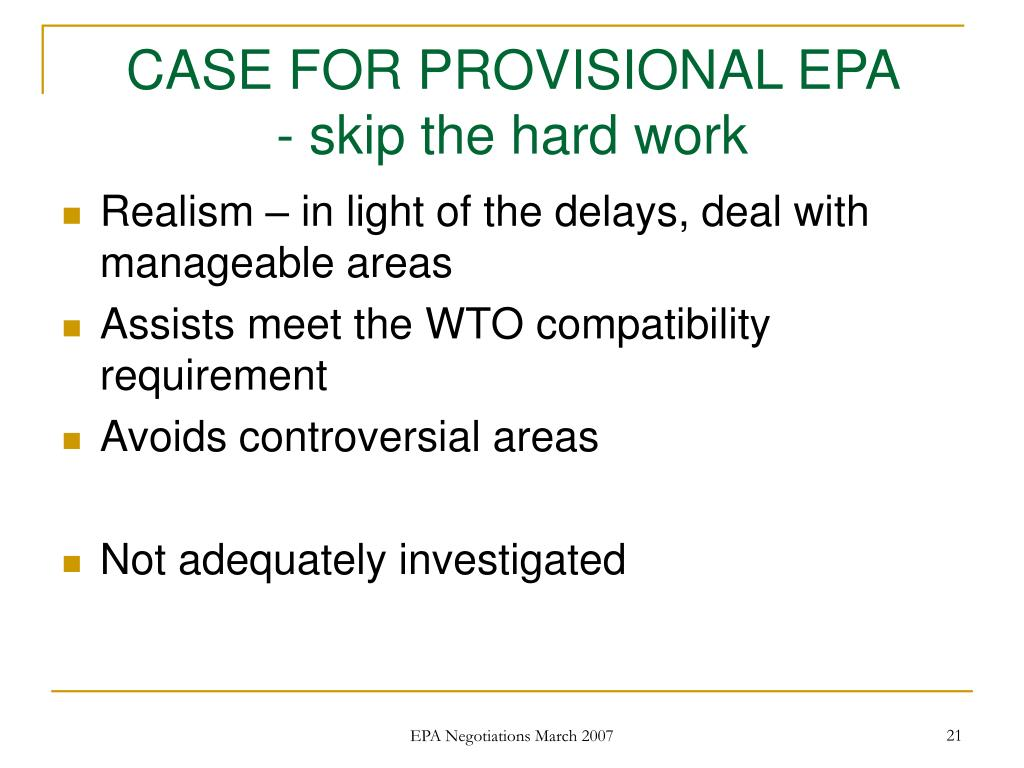 CASE FOR PROVISIONAL EPA