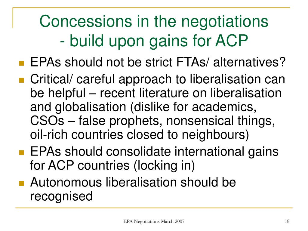 Concessions in the negotiations