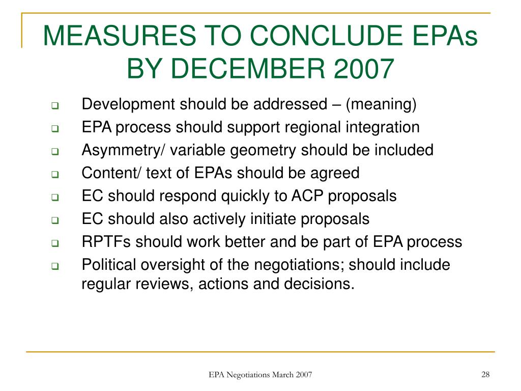 MEASURES TO CONCLUDE EPAs BY DECEMBER 2007