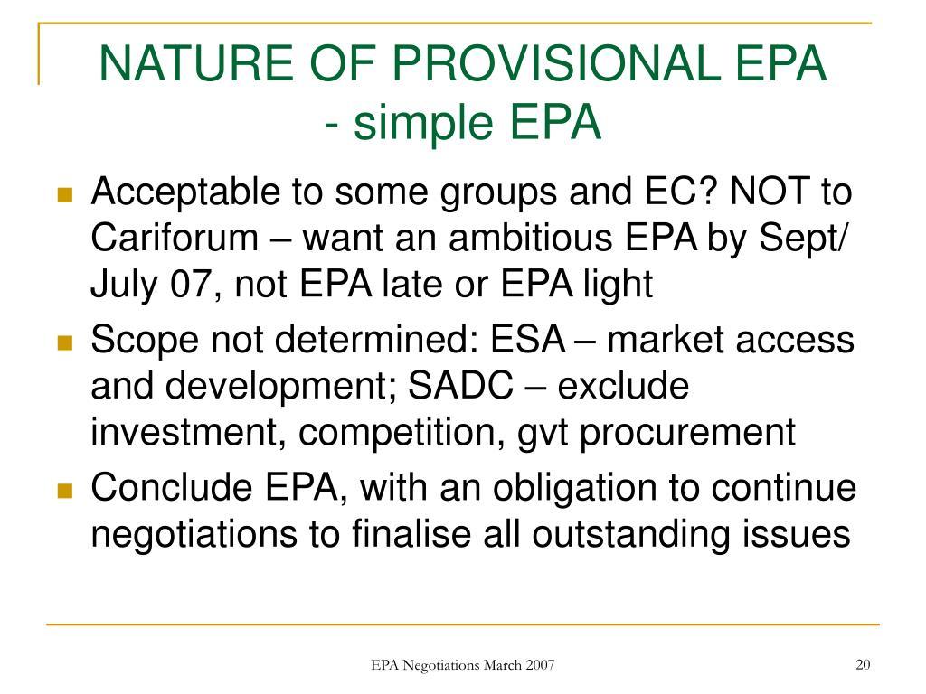 NATURE OF PROVISIONAL EPA