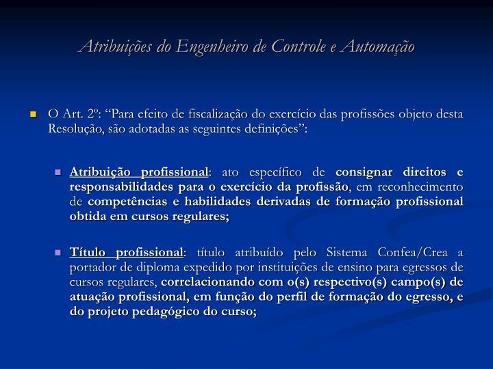 Atribuições do Engenheiro de Controle e Automação