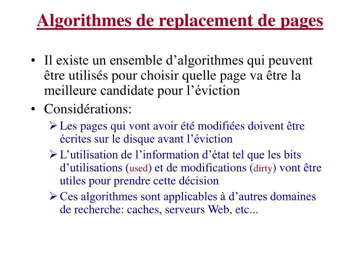 Algorithmes de replacement de pages