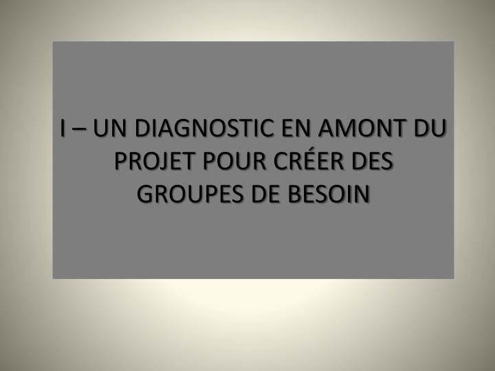 I – UN DIAGNOSTIC EN AMONT DU PROJET POUR CRÉER DES GROUPES DE BESOIN