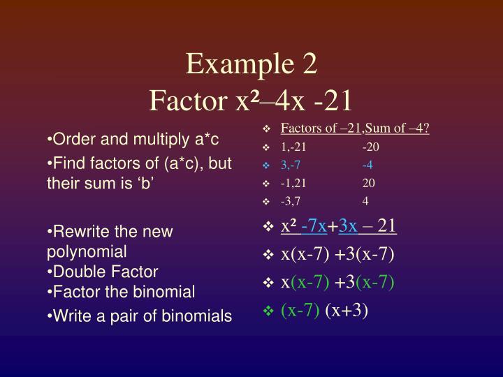Factors of –21