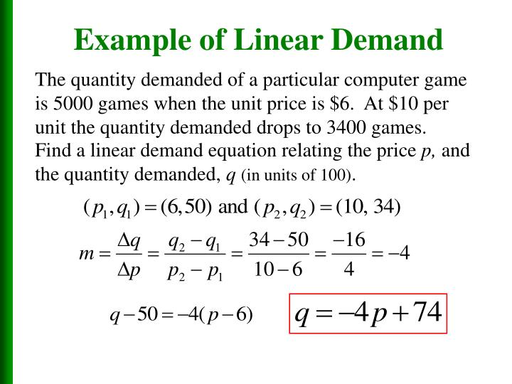 Example of Linear Demand