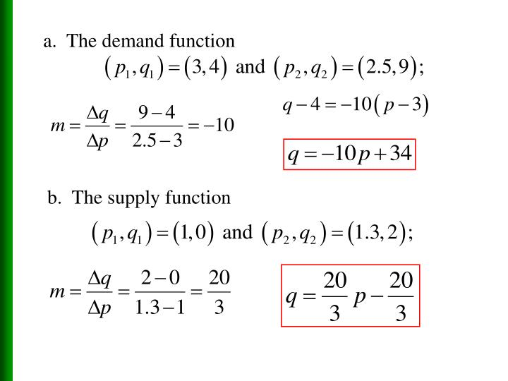 a.  The demand function