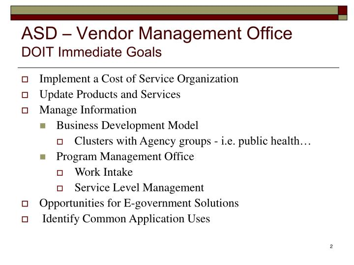 Asd vendor management office doit immediate goals