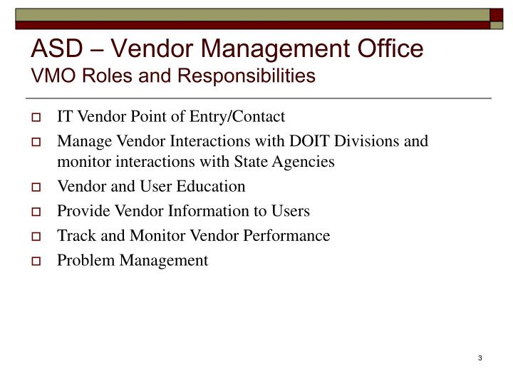 Asd vendor management office vmo roles and responsibilities
