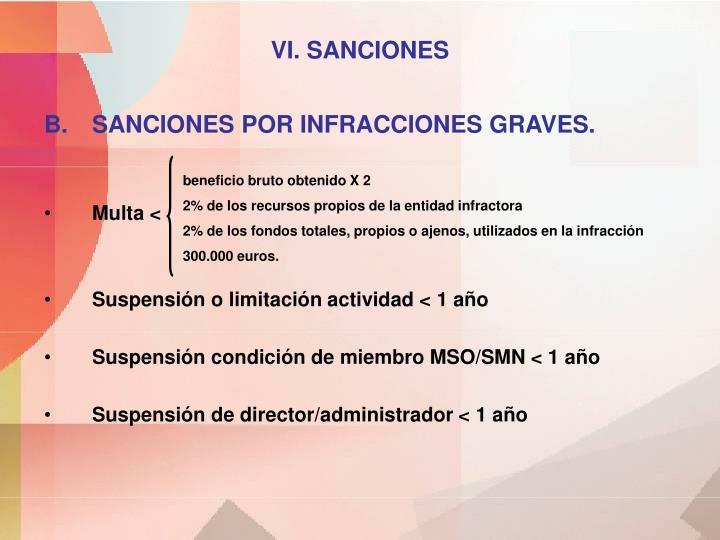 VI. SANCIONES