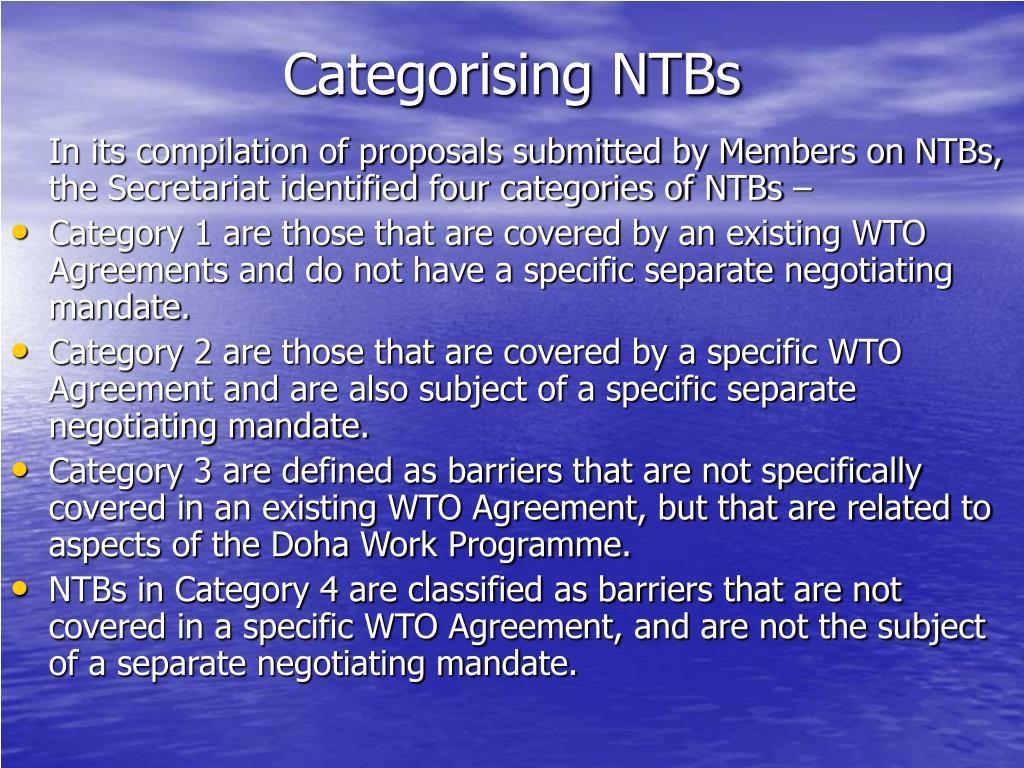Categorising NTBs